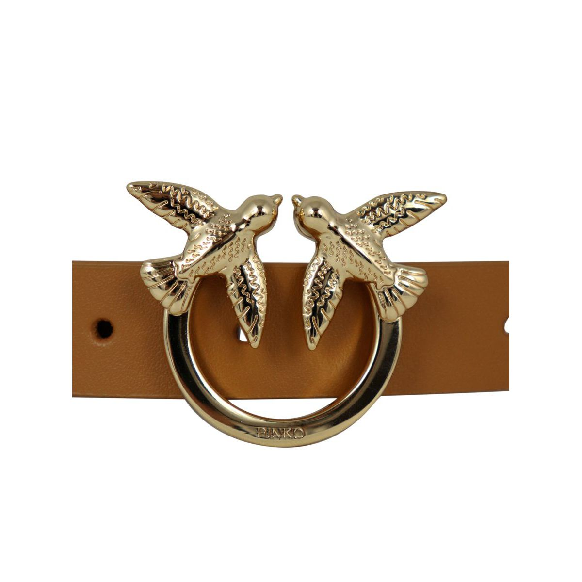 Berry Simple small belt in leather with Love Birds buckle Leather Pinko