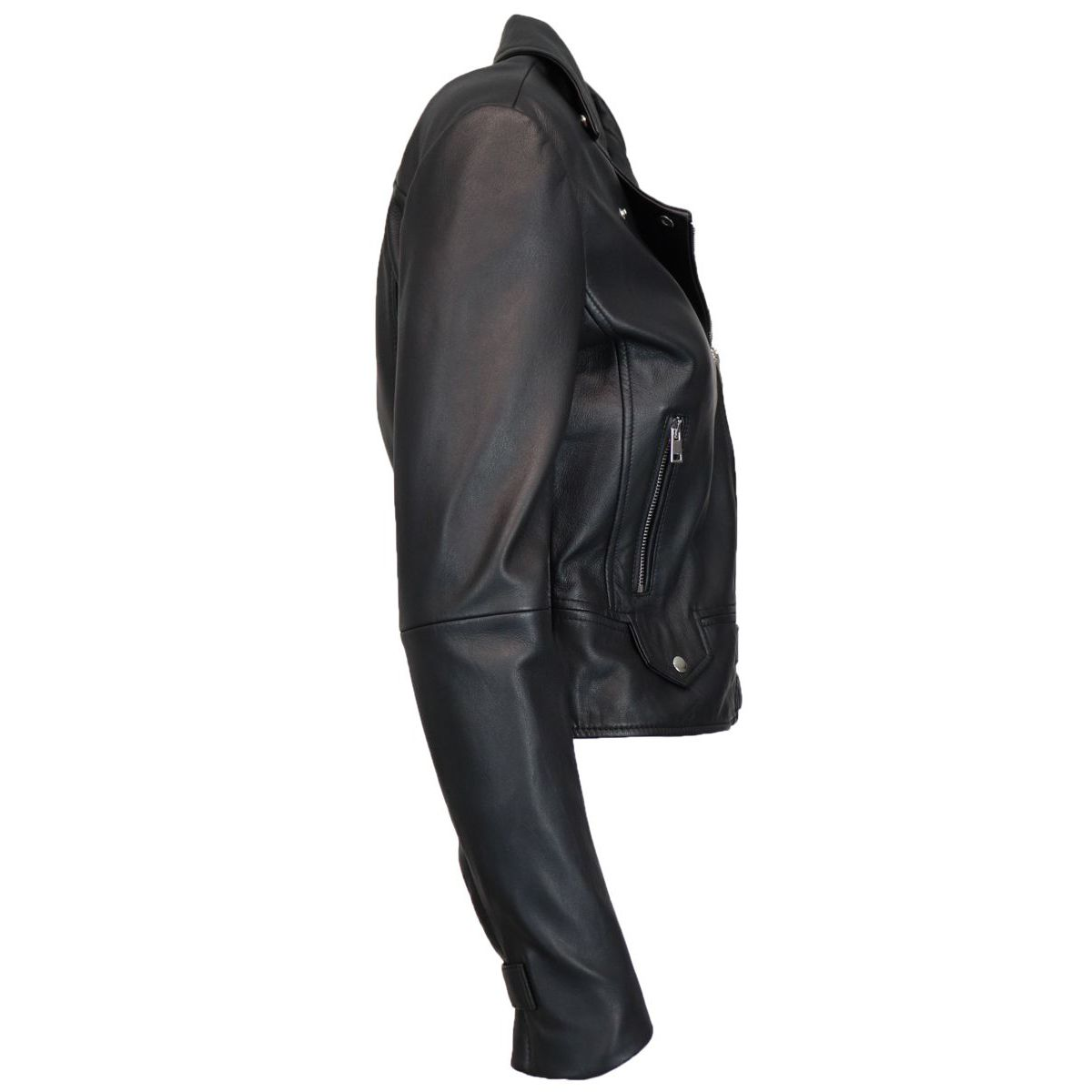 Sensitive jacket 4 biker model in leather with zip Black Pinko