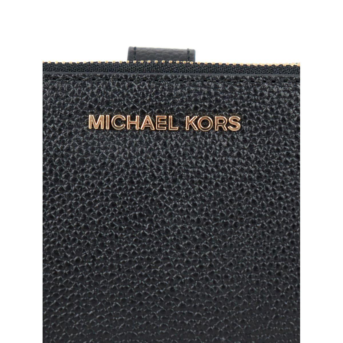 Adele wallet in textured leather Black Michael Kors