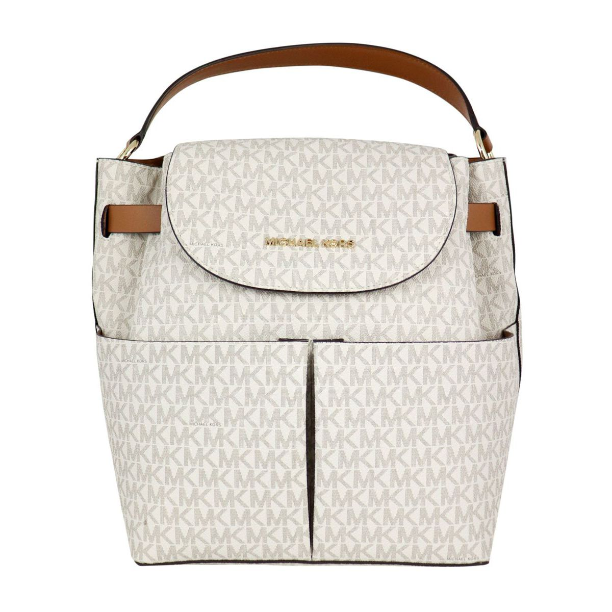 Leather backpack with all over monogram Vanilla Michael Kors