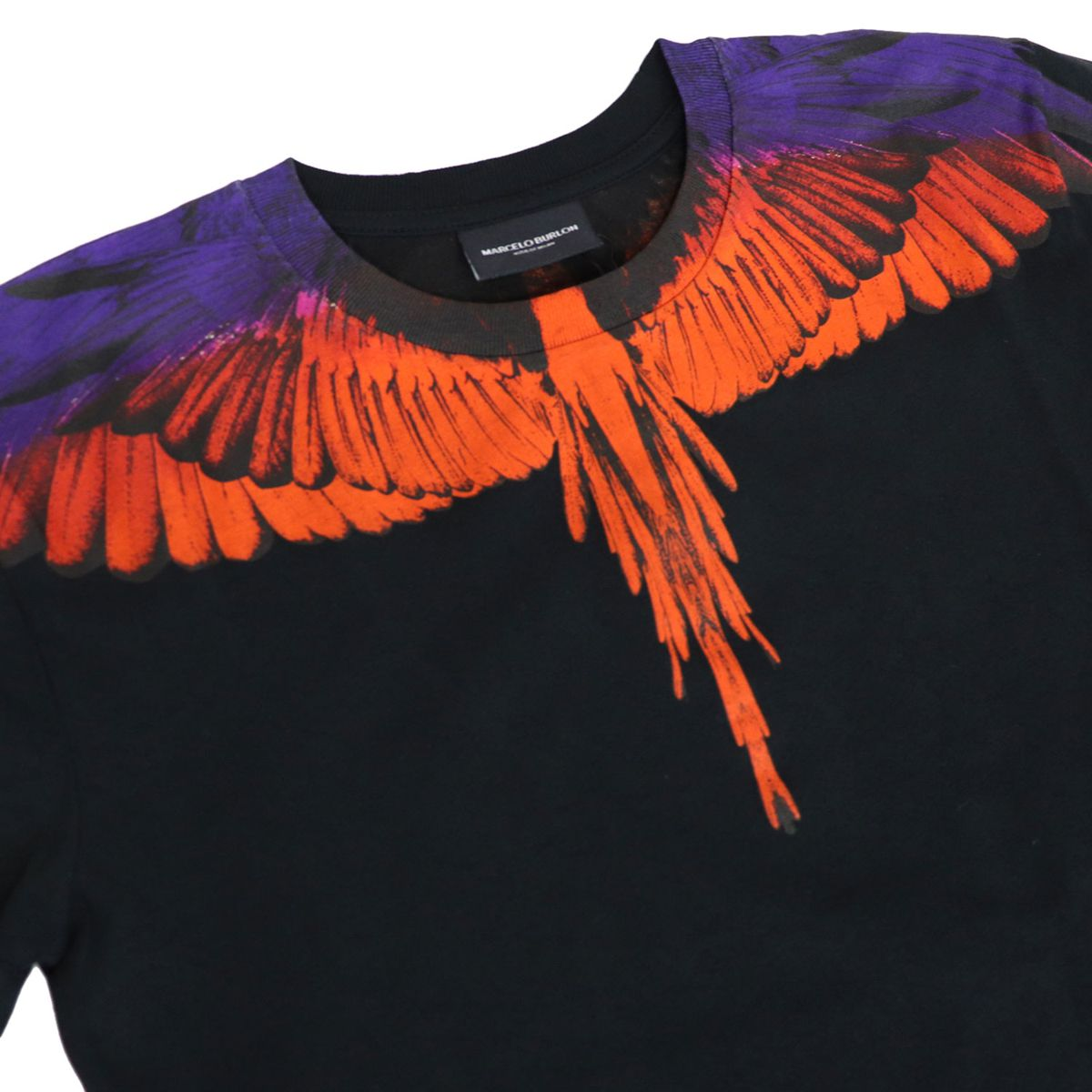 Crew-neck cotton t-shirt with multicolor wings print Black MARCELO BURLON