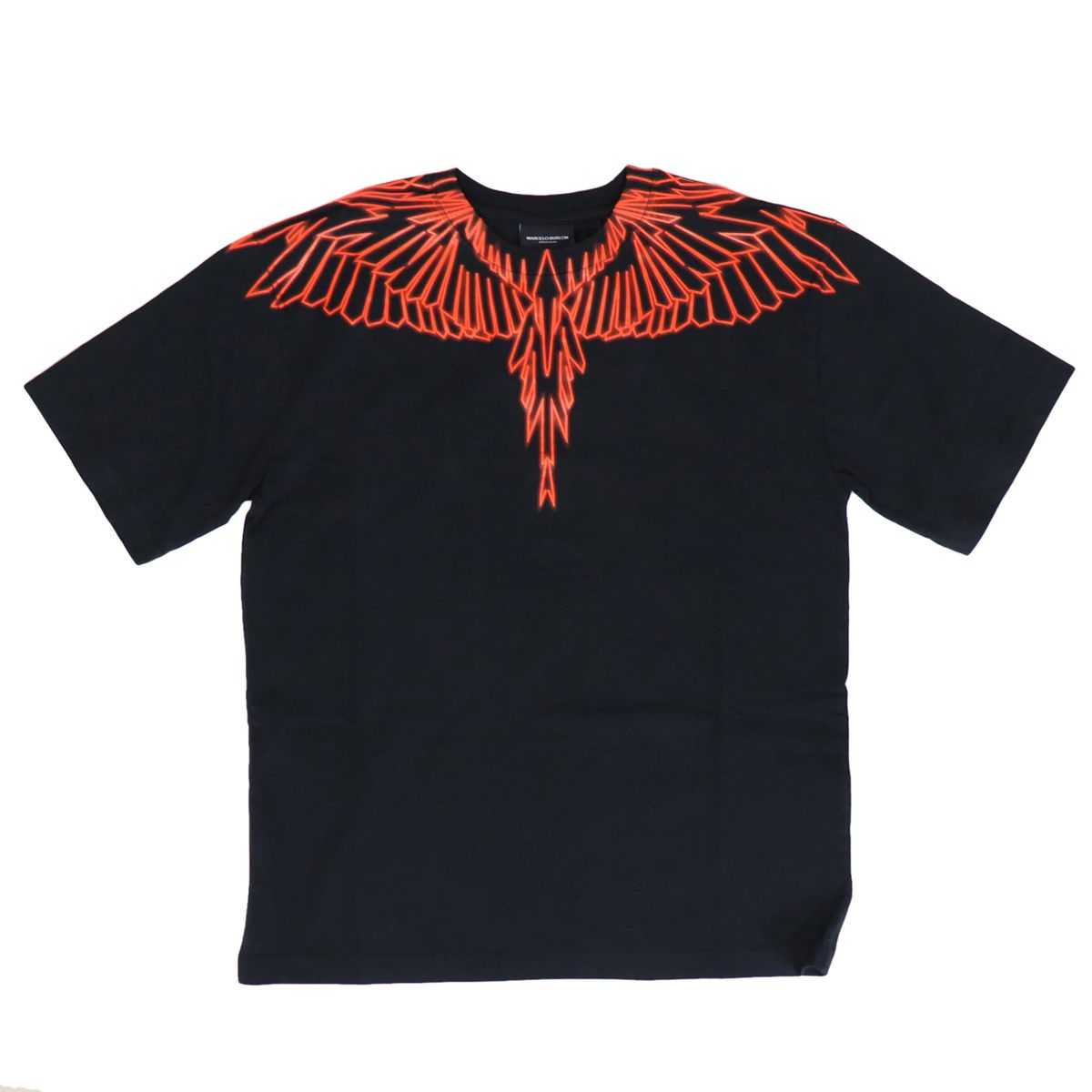 Crewneck cotton T-shirt with contrasting wings print Black MARCELO BURLON