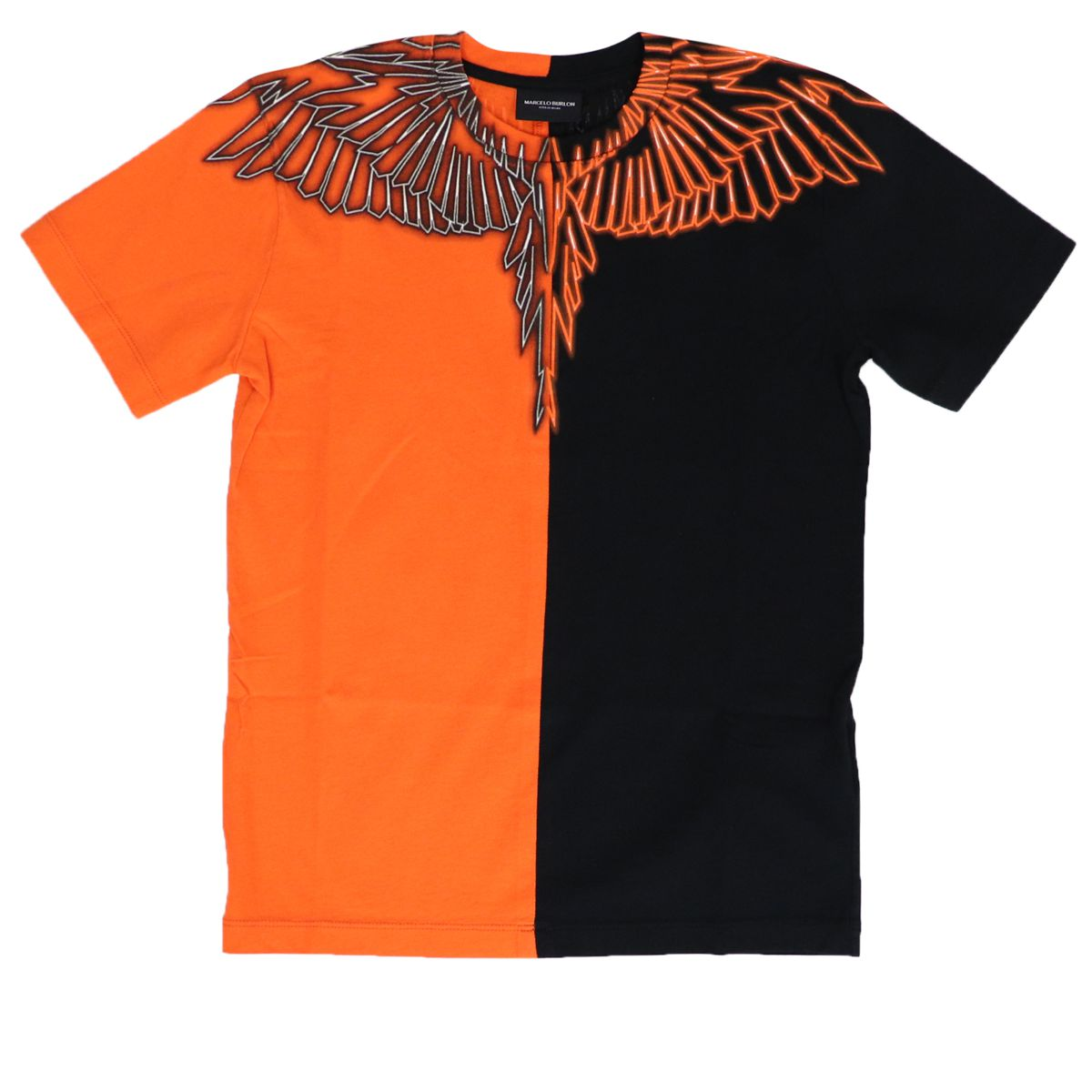 Crewneck t-shirt in bicolor cotton with wing print Black MARCELO BURLON