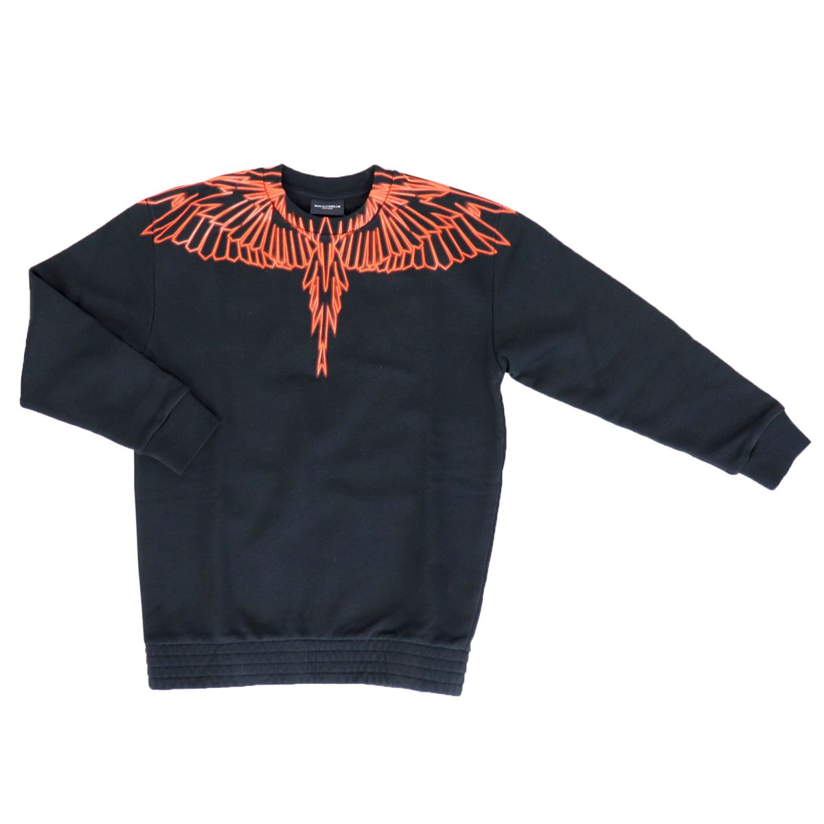 Cotton crewneck sweatshirt with multicolor wings print Black MARCELO BURLON