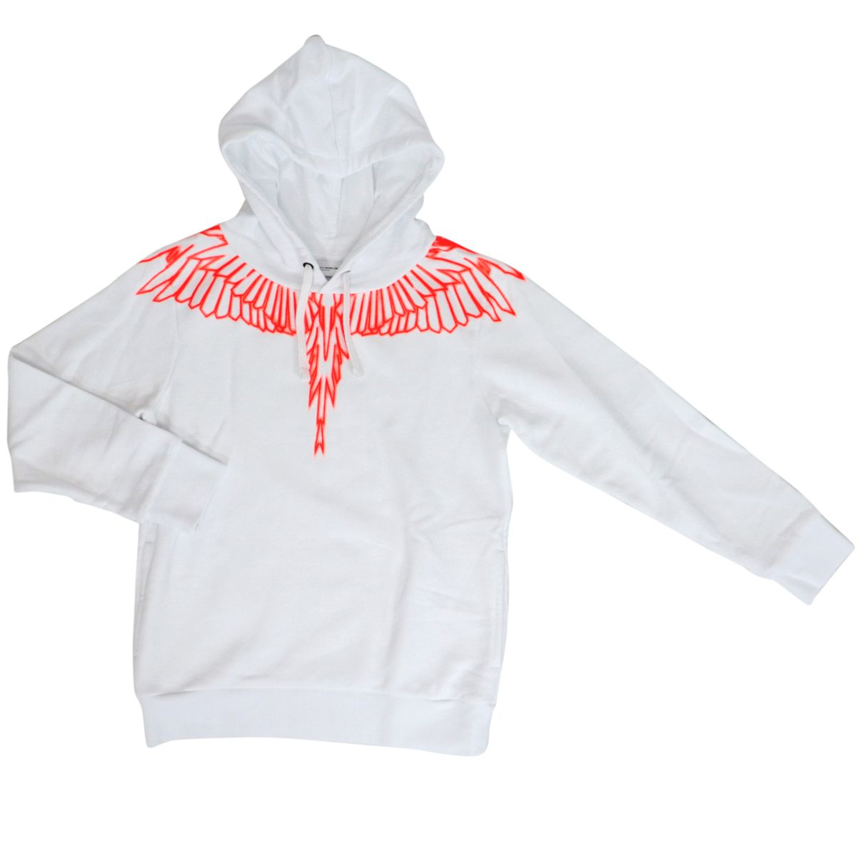 Cotton sweatshirt with hood and wings print White MARCELO BURLON