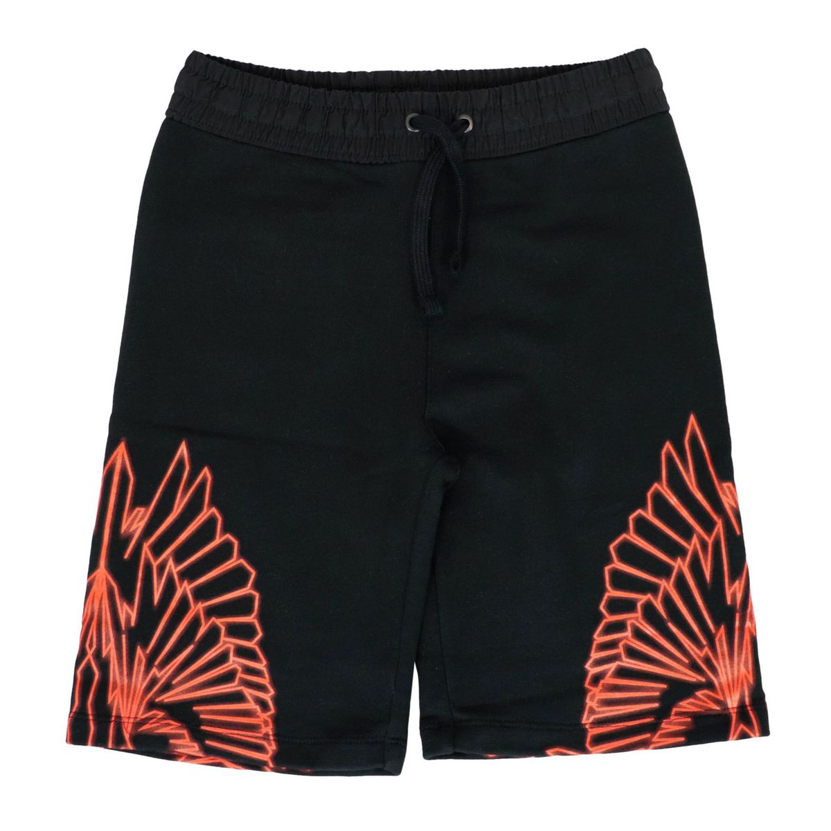 Cotton bermuda with contrasting wings print Black MARCELO BURLON
