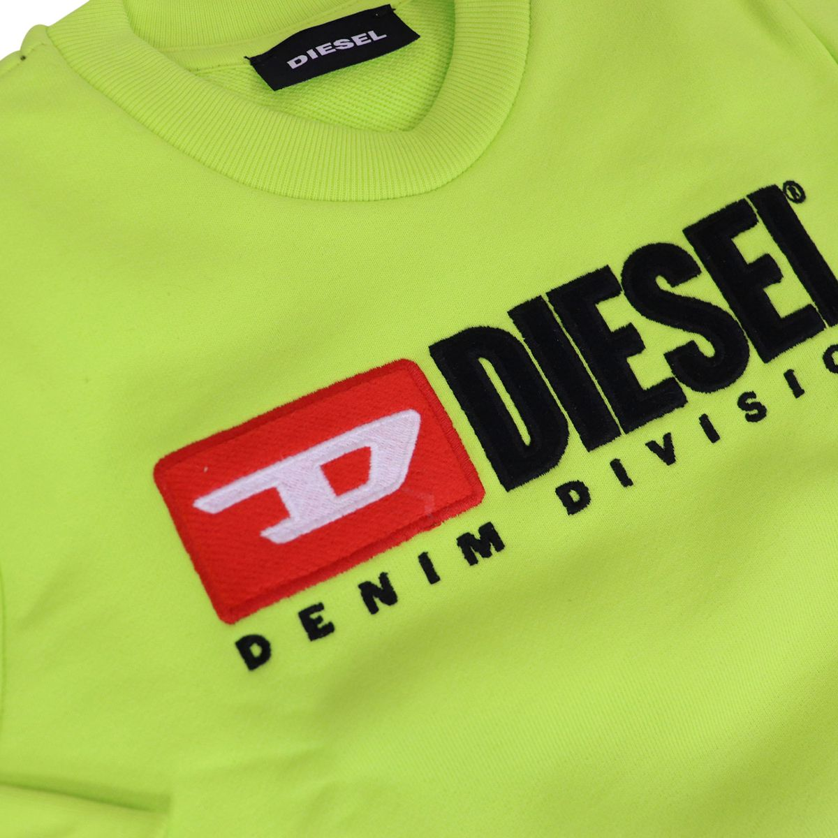 Crewneck cotton sweatshirt with contrasting logo embroidery Green fluorescent Diesel
