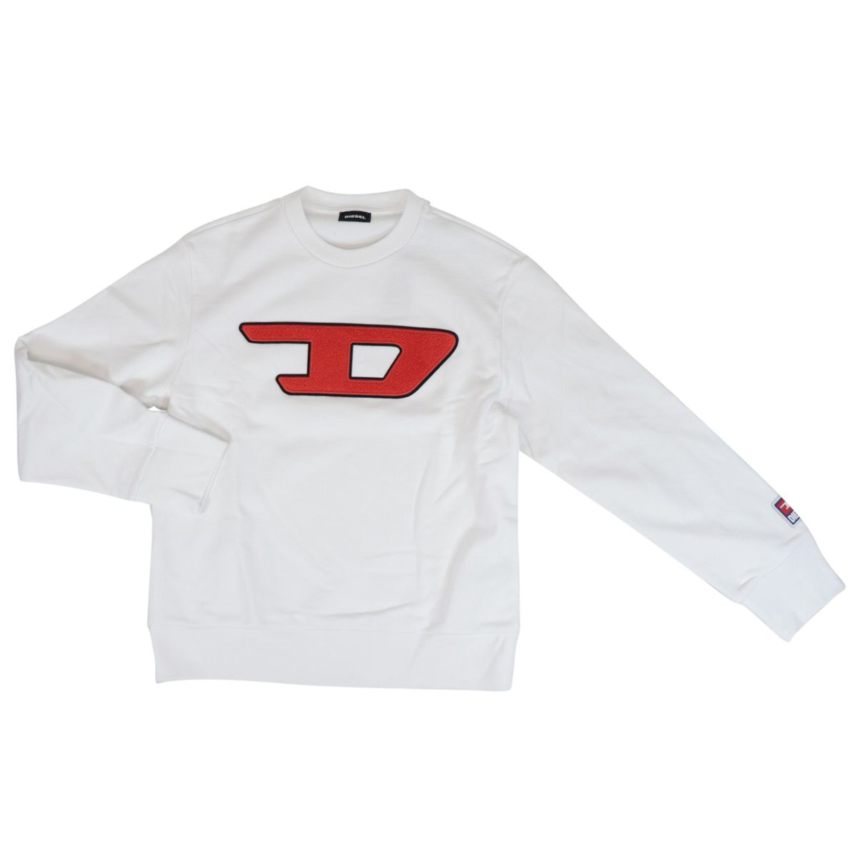 Crewneck cotton sweatshirt with contrasting logo patch White Diesel