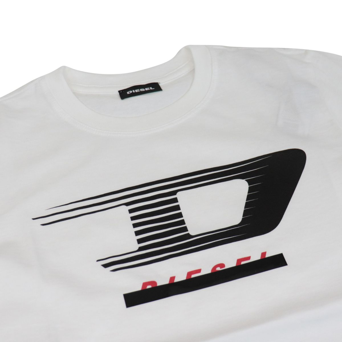 Crew neck cotton T-shirt with front application White Diesel