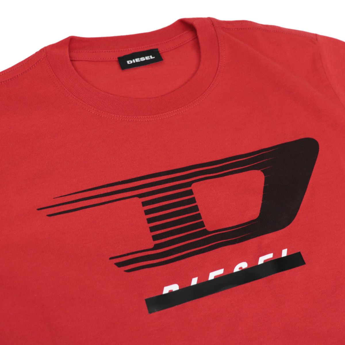 Crew neck cotton T-shirt with front application Red Diesel