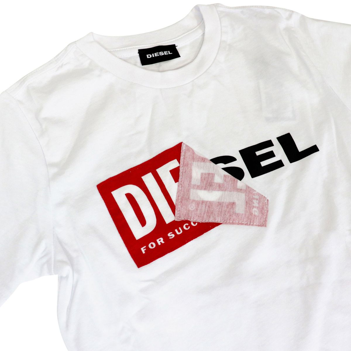 Crew-neck cotton T-shirt with logo print White Diesel