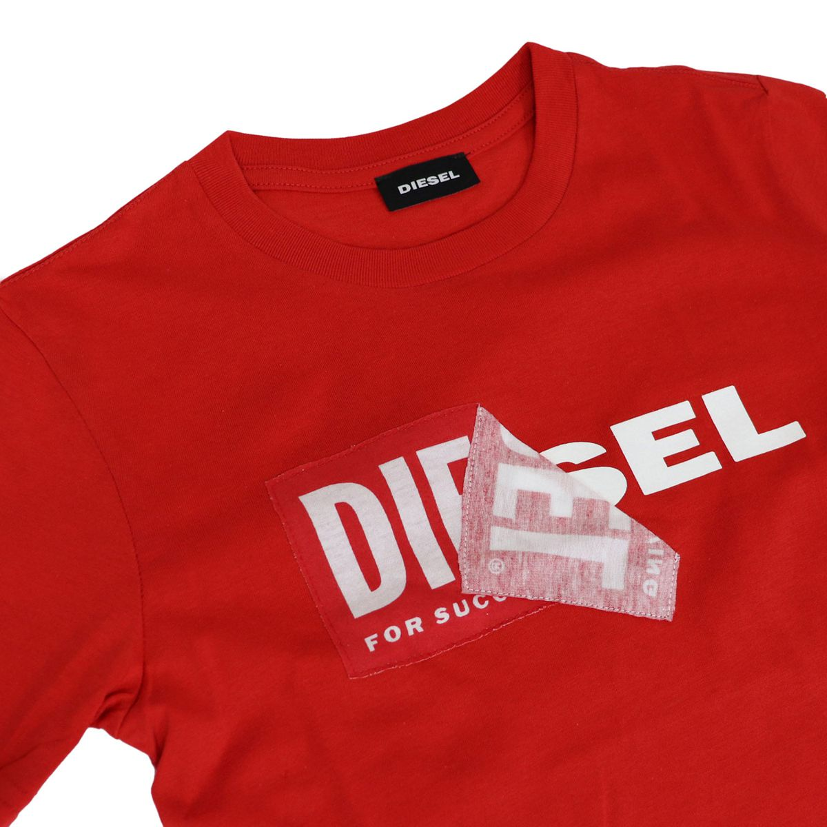Crew-neck cotton T-shirt with logo print Red Diesel