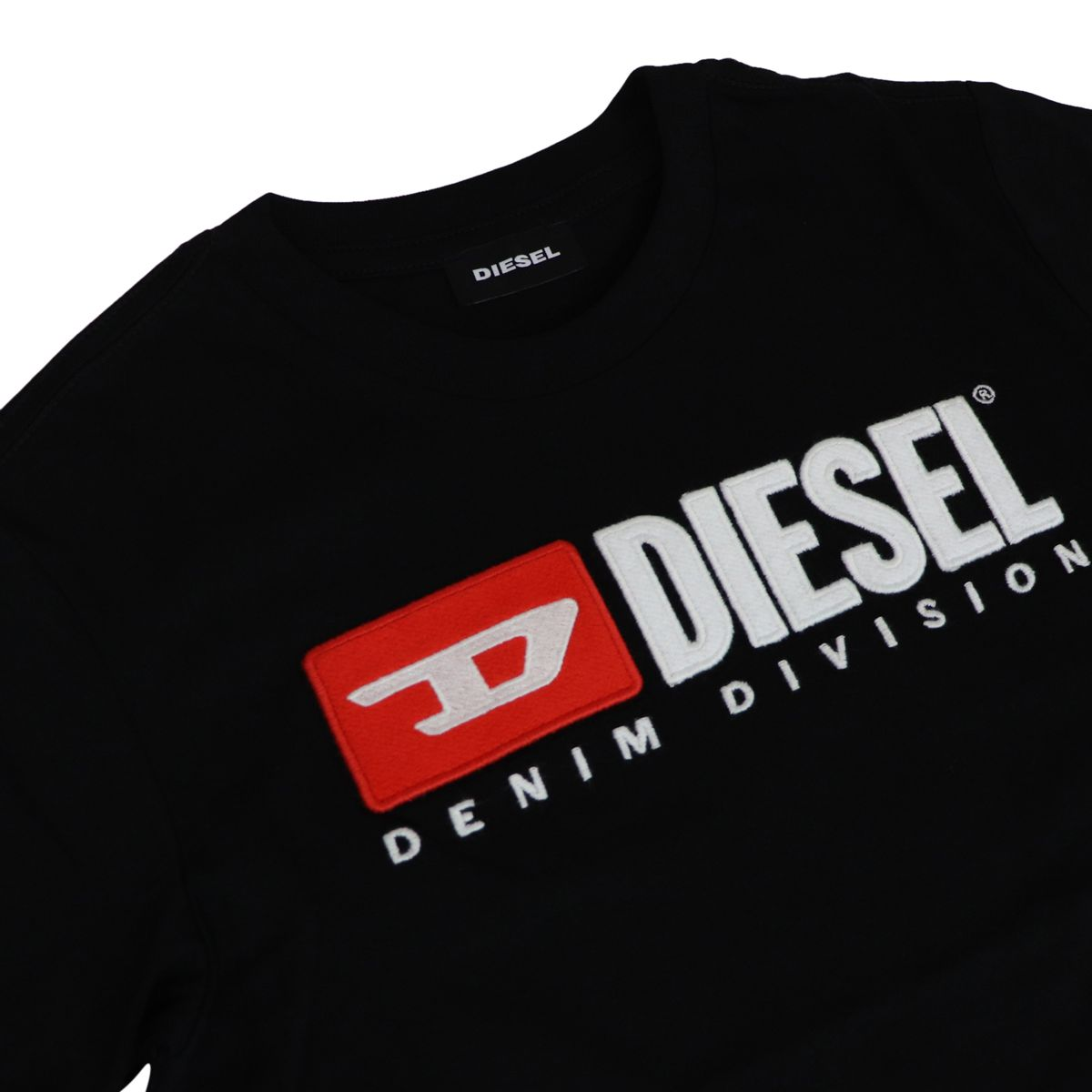 Cotton T-shirt with front logo print Black Diesel
