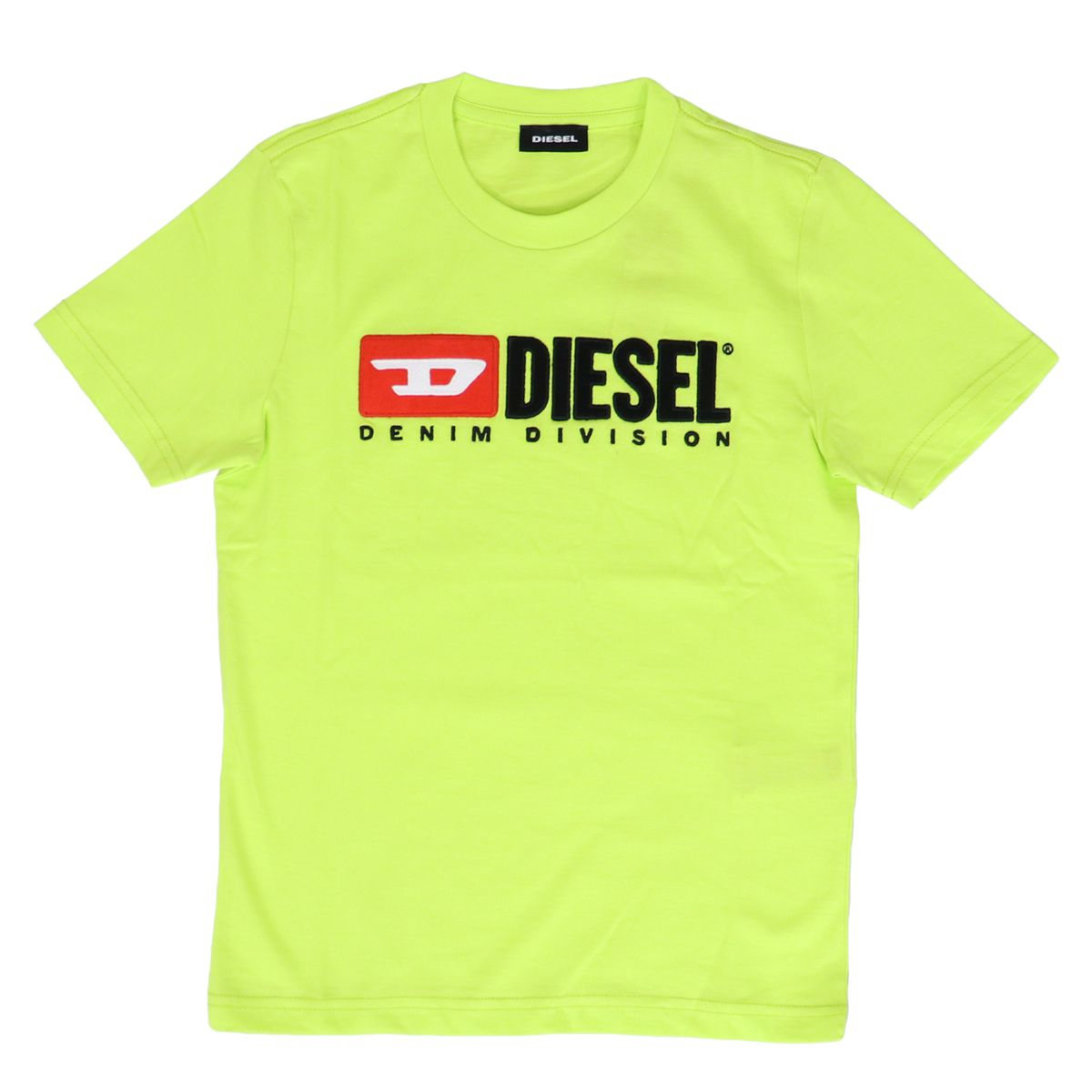 Cotton T-shirt with front logo print Green fluorescent Diesel