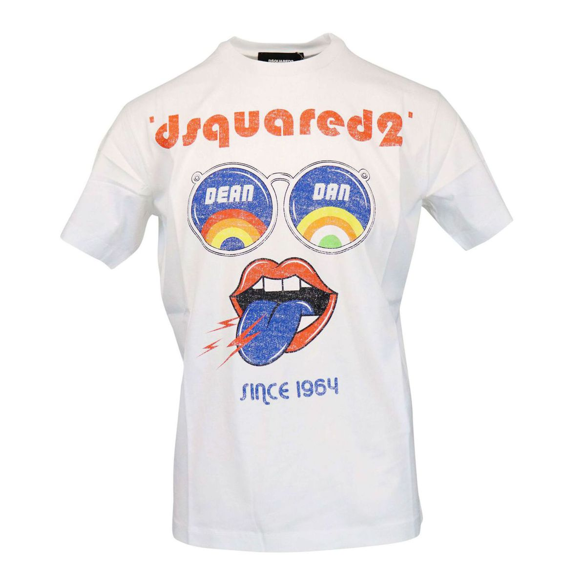Crew neck cotton t-shirt with maxi multicolor print and logo White Dsquared2
