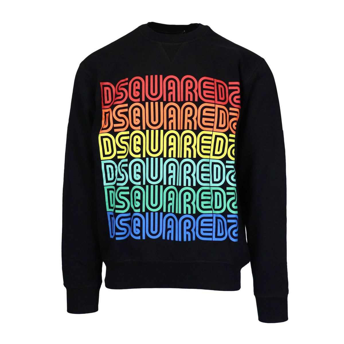Cotton sweatshirt with multicolor logo print Black Dsquared2