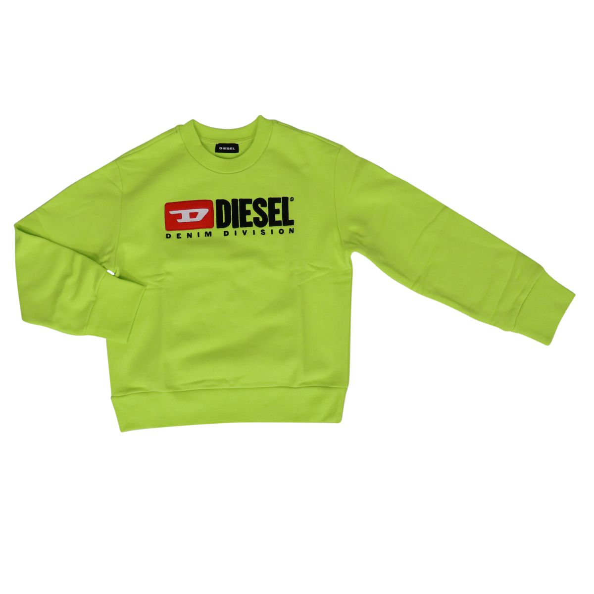 Cotton sweatshirt with logo print Green fluorescent Diesel