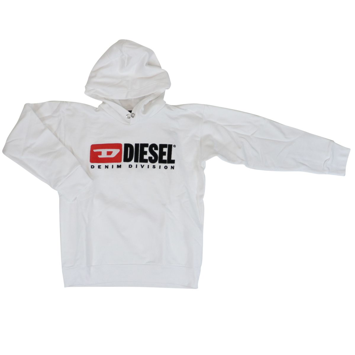 Cotton sweatshirt with hood and contrasting logo patch White Diesel