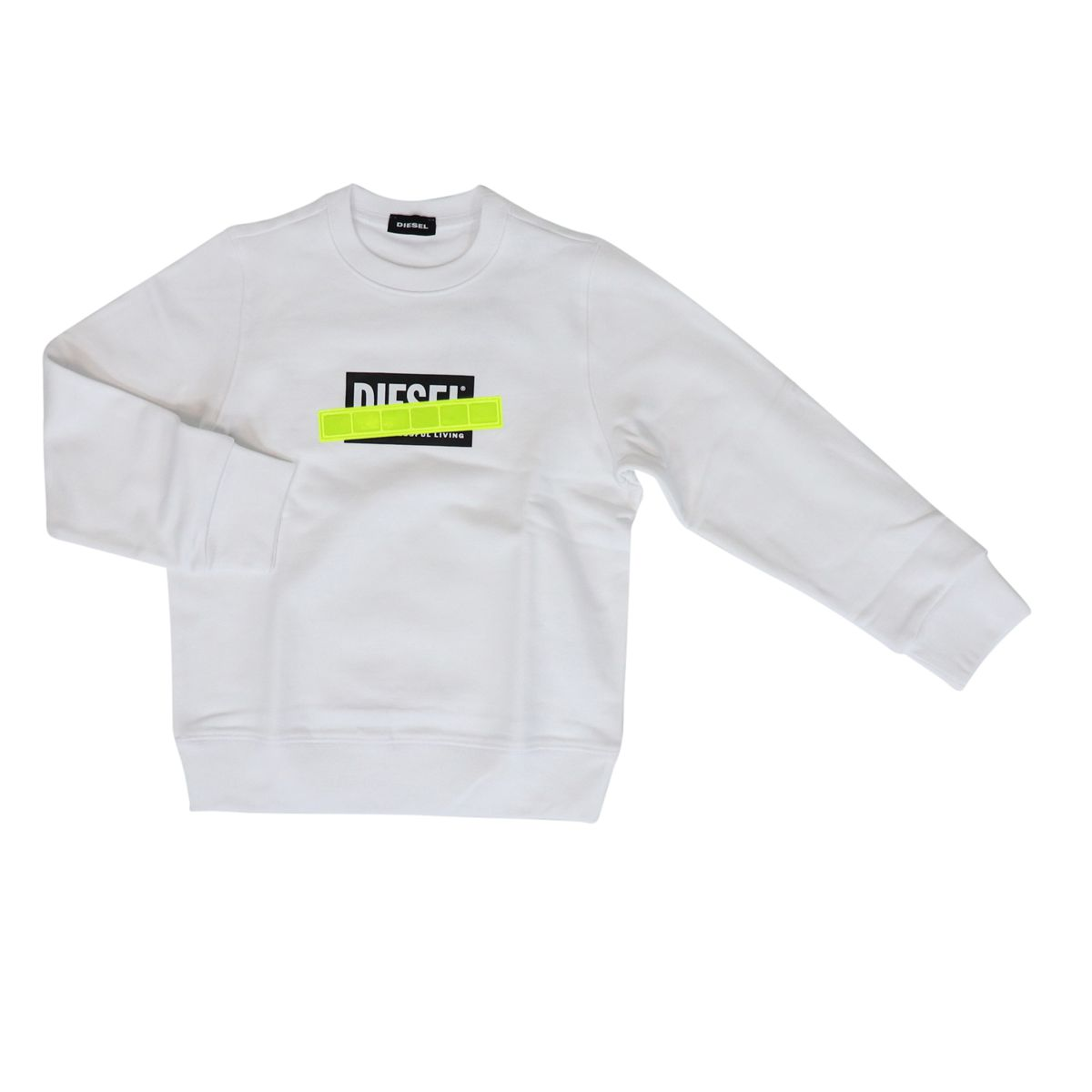 Cotton sweatshirt with logo print and fluorescent band White Diesel