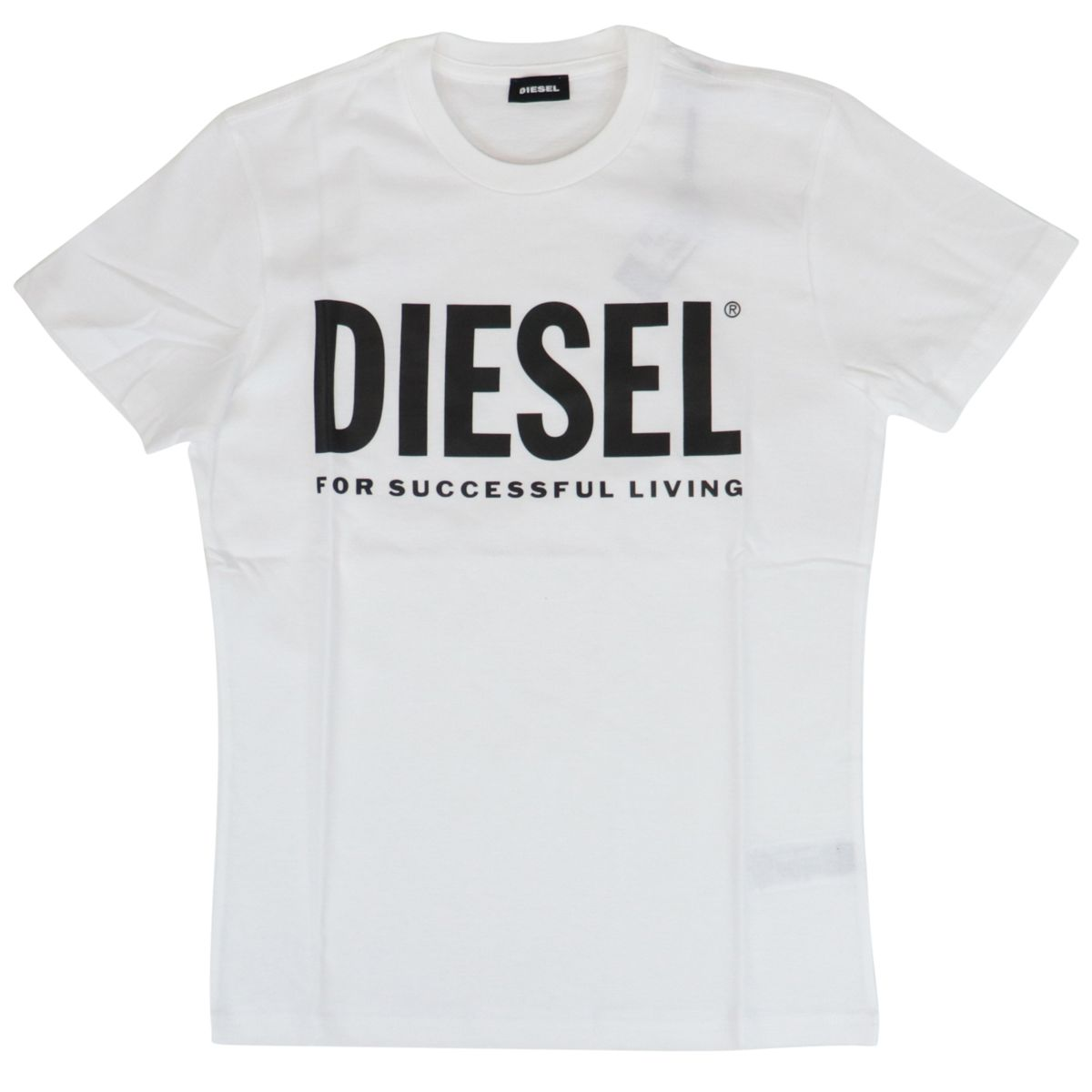 Short-sleeved cotton T-shirt with logo print White Diesel