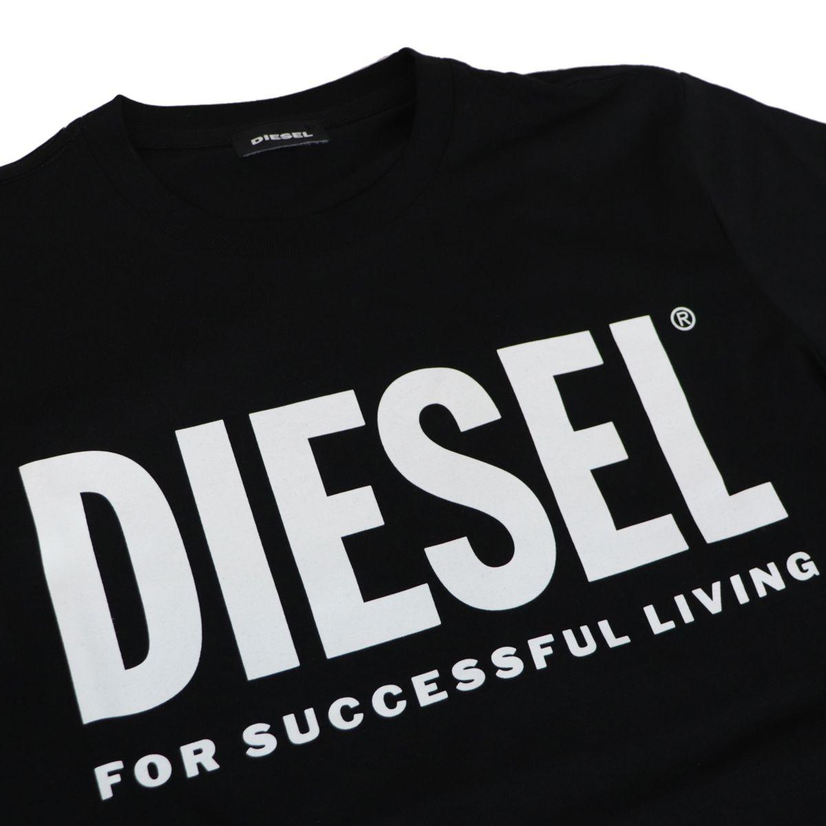 Short-sleeved cotton T-shirt with logo print Black Diesel