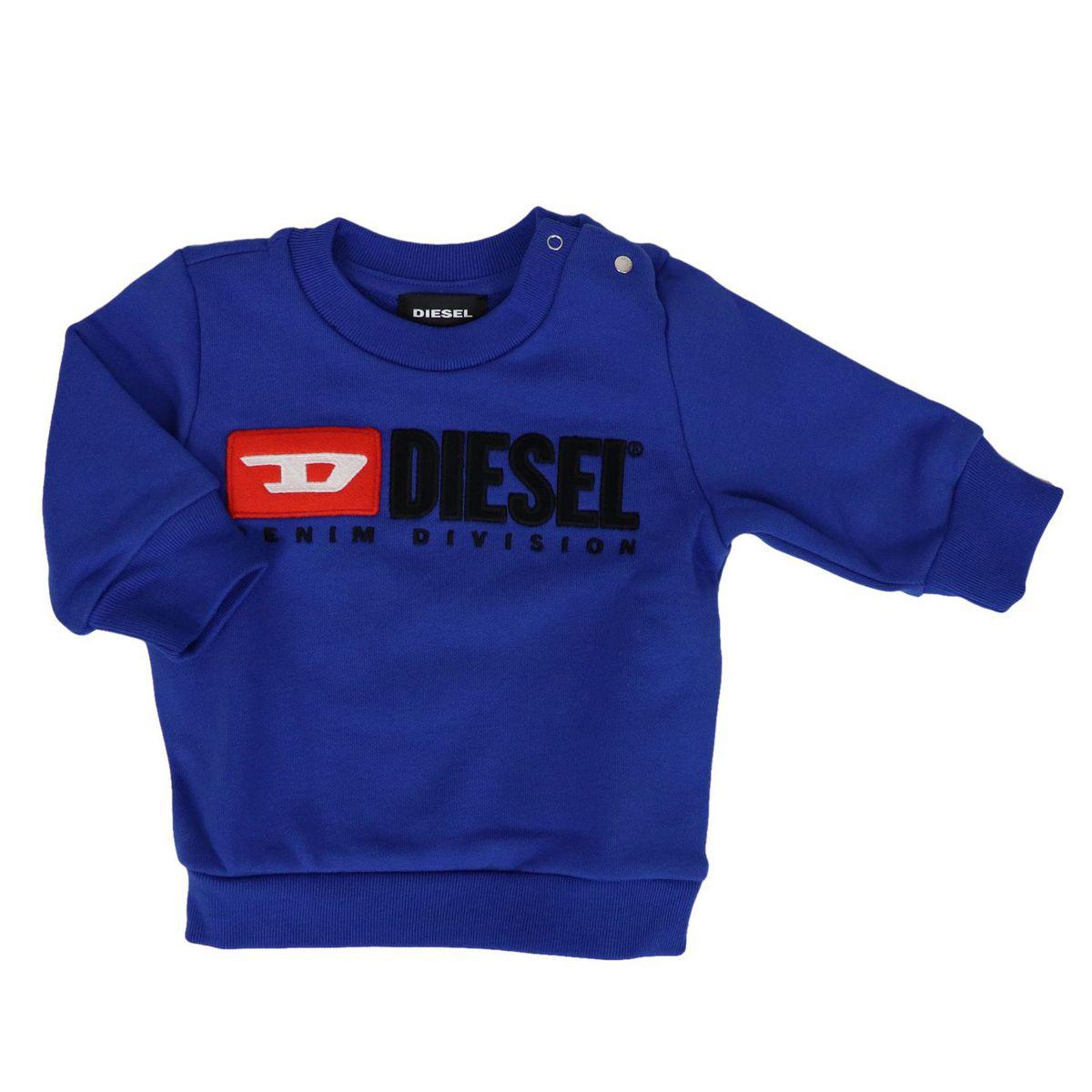 Crewneck sweatshirt in cotton with logo print Bluette Diesel