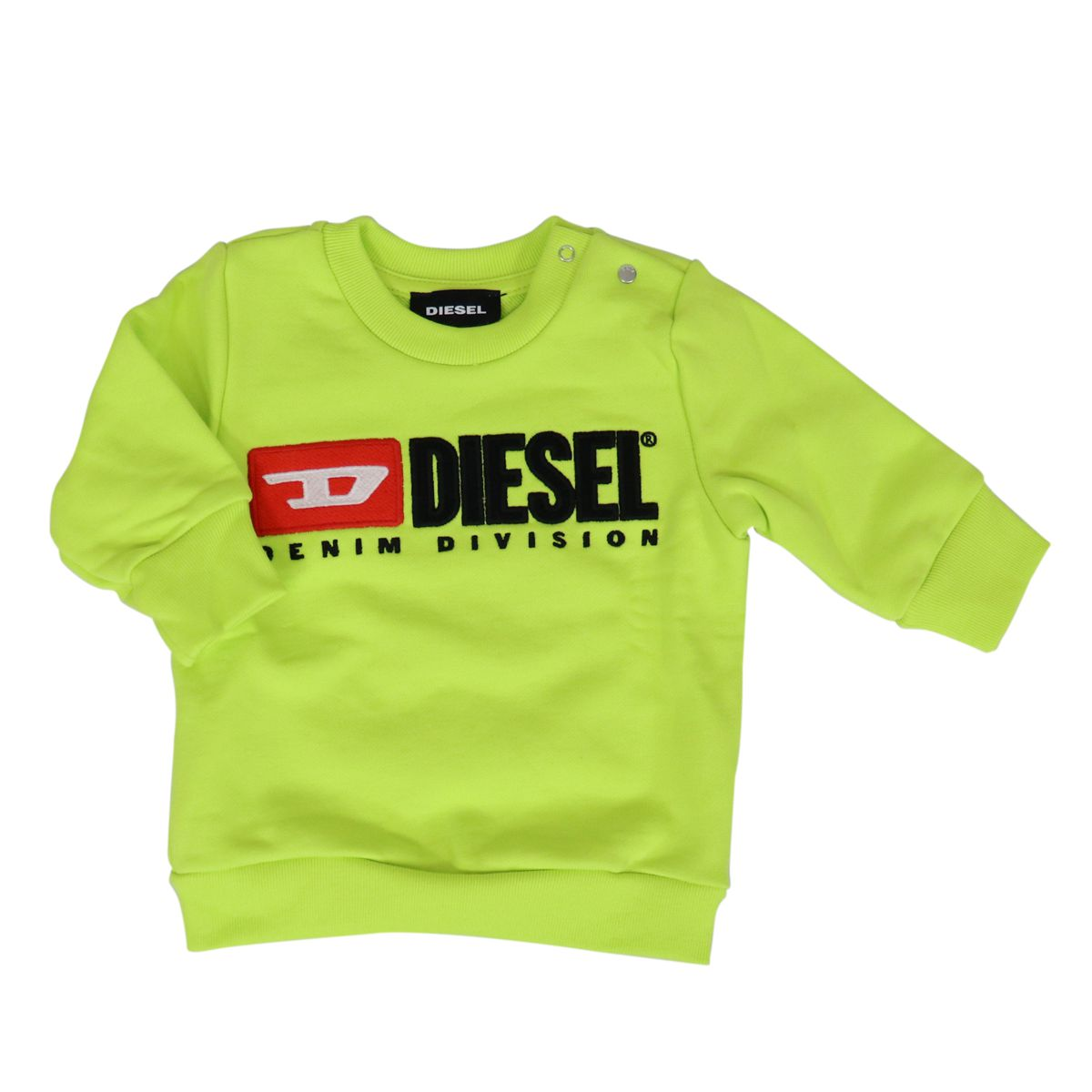 Crewneck sweatshirt in cotton with logo print Green fluorescent Diesel