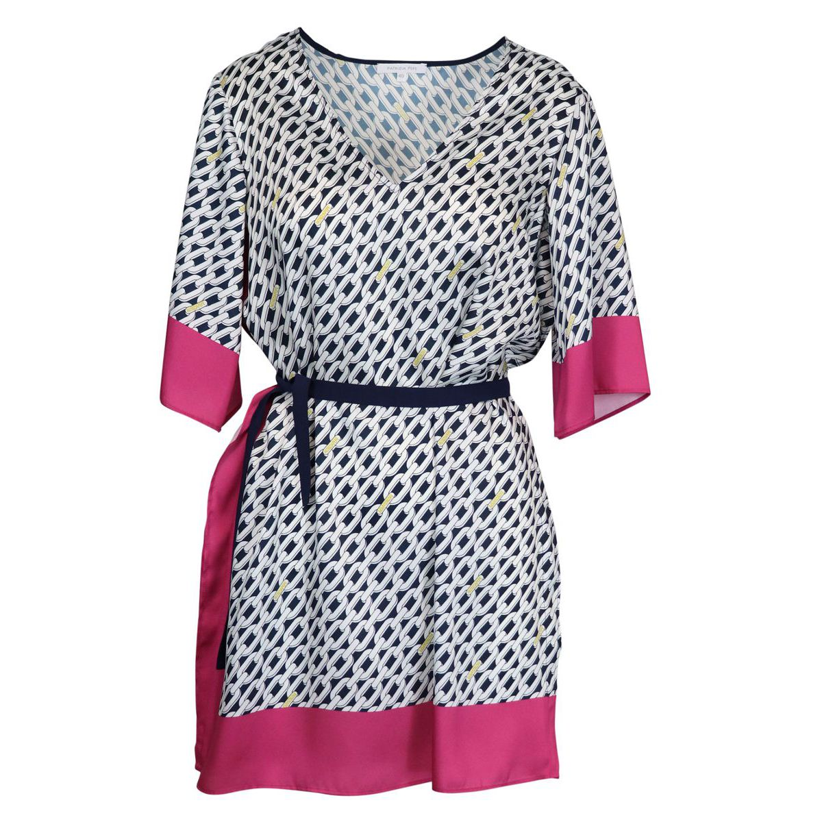 Patterned satin dress with wide three-quarter sleeves White / fuchsia Patrizia Pepe