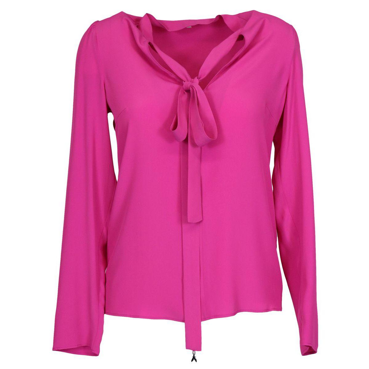 Silk blend blouse with sash Fuchsia Patrizia Pepe