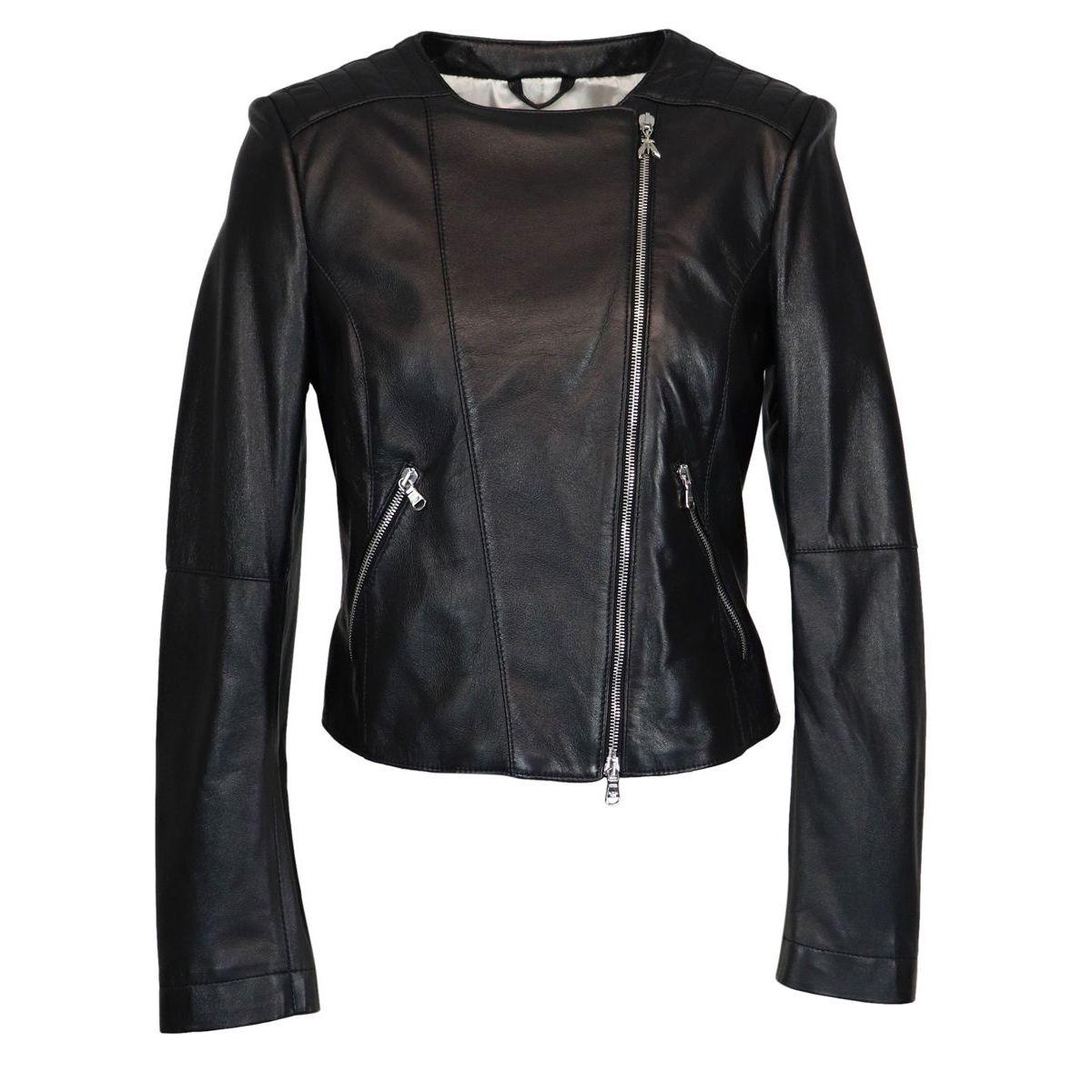 Leather biker jacket with zip Black Patrizia Pepe