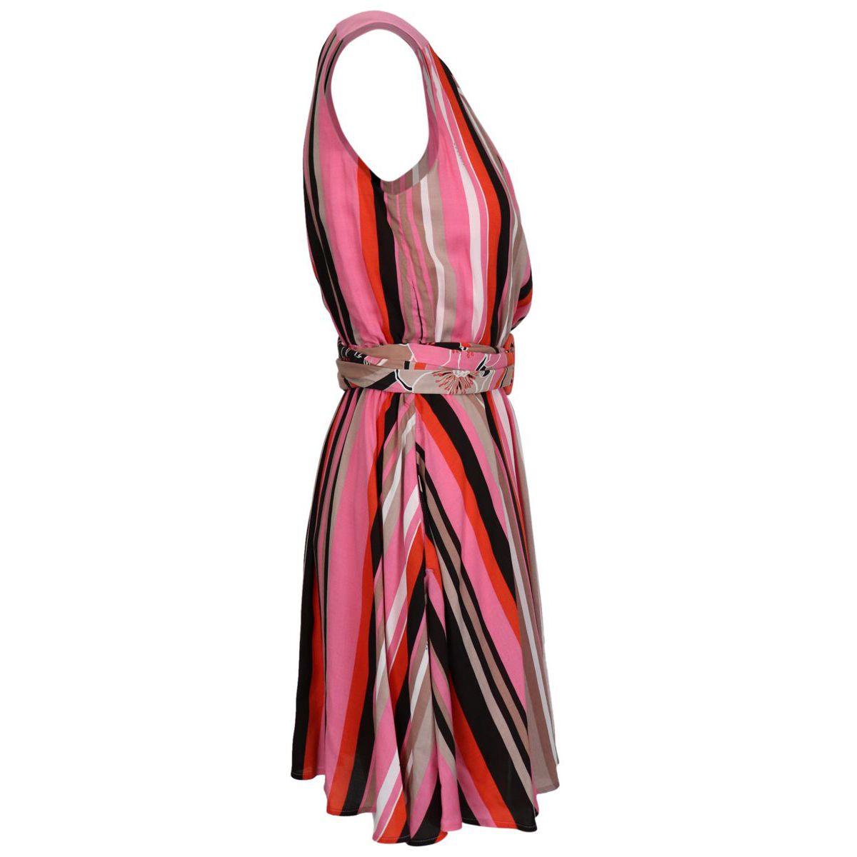 ADRIEL sleeveless dress in viscose Pink lines Nenette