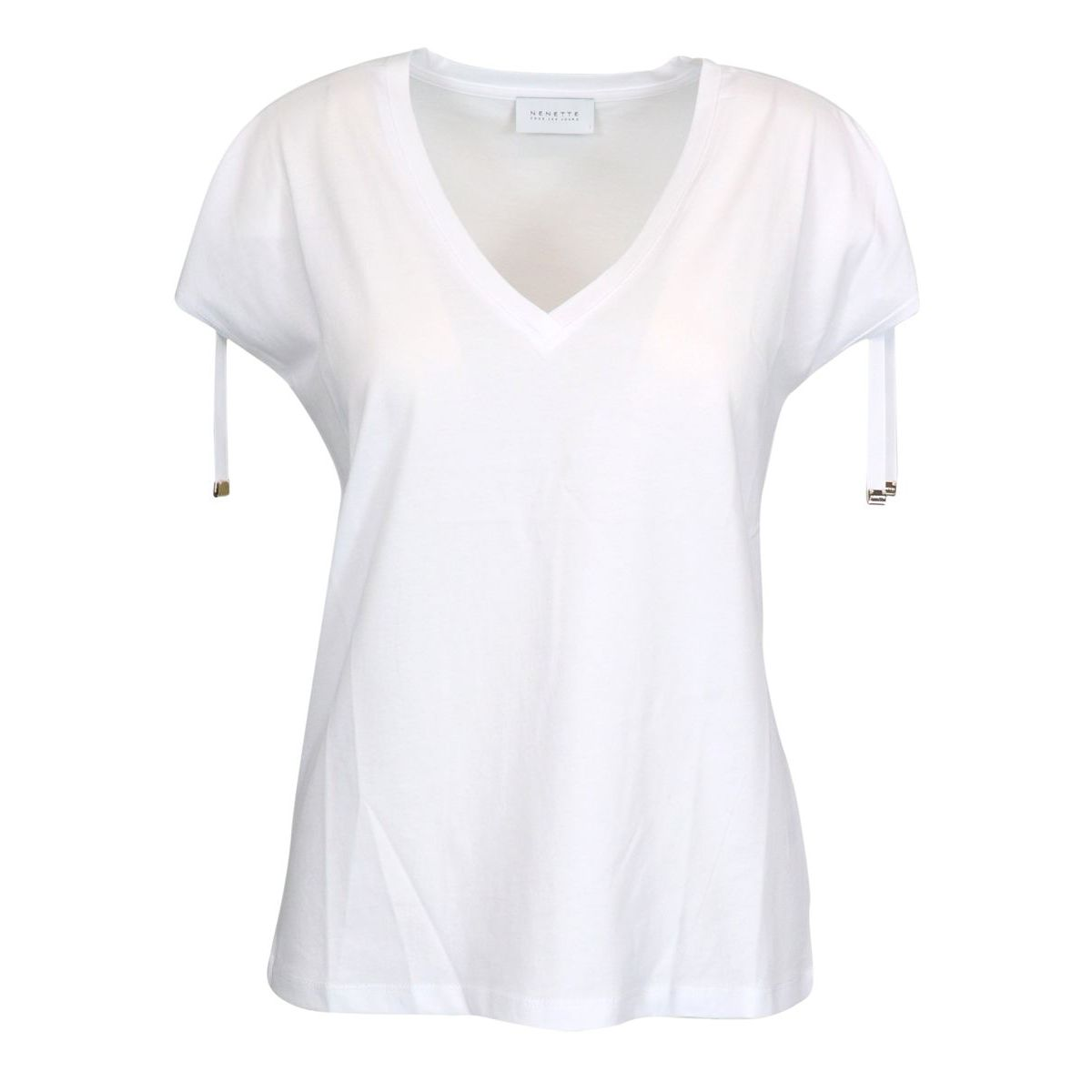 Dargen cotton T-shirt with coulisse on the sleeves White Nenette