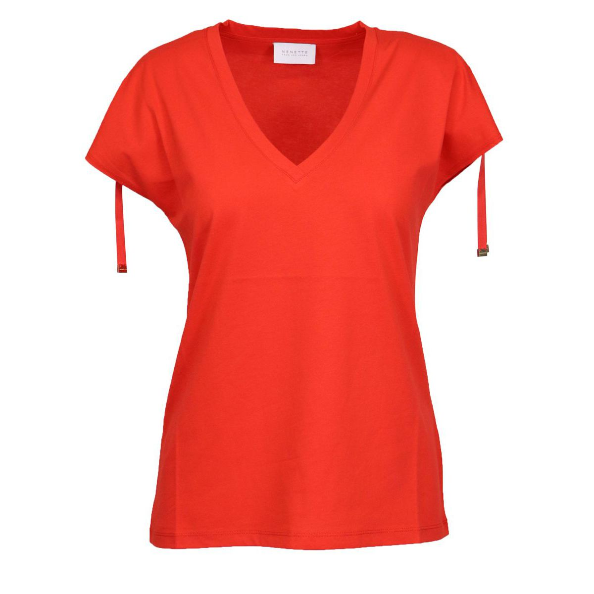 Dargen cotton T-shirt with coulisse on the sleeves Coral Nenette