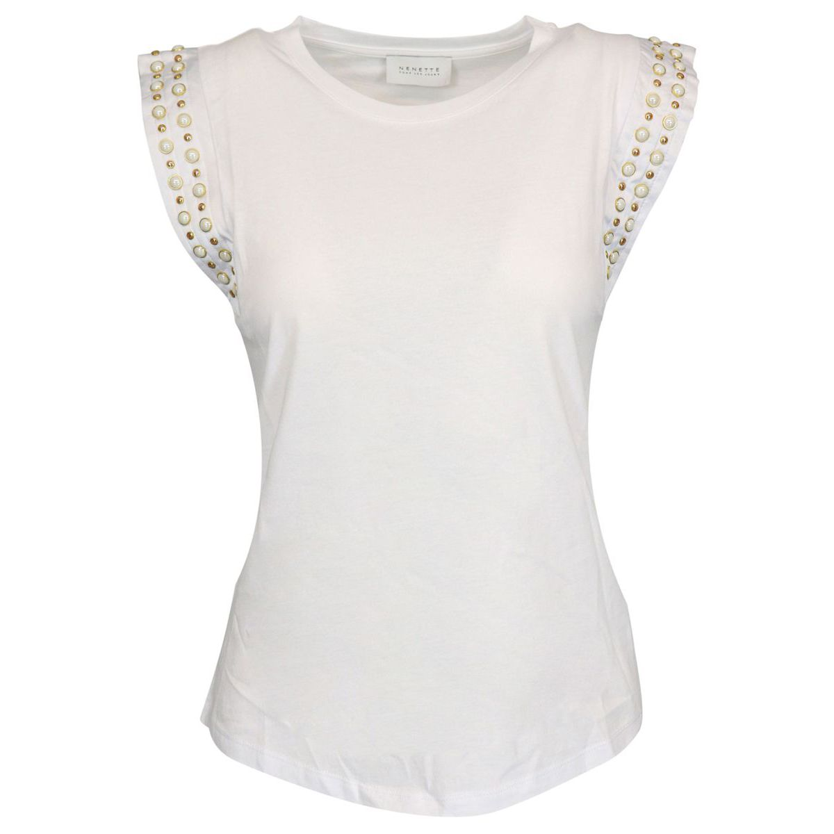 Delfina cotton t-shirt with studs and pearls on armhole White Nenette