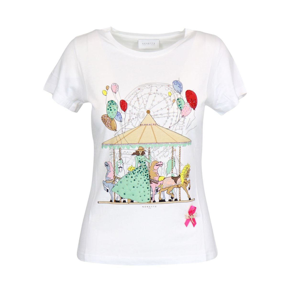 Cotton T-shirt with carousel and strass print White Nenette