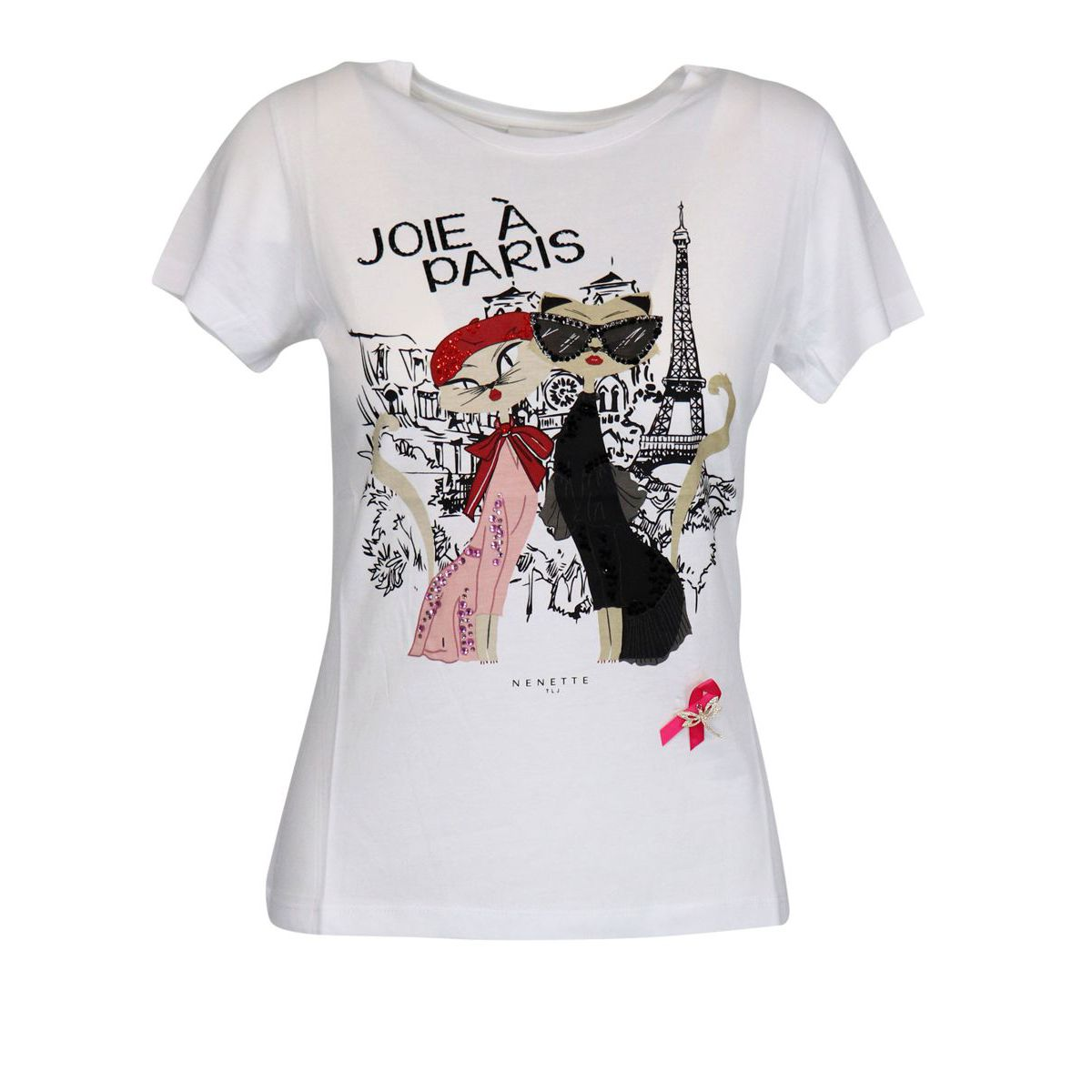 Cotton T-shirt with Paris and rhinestone print White Nenette