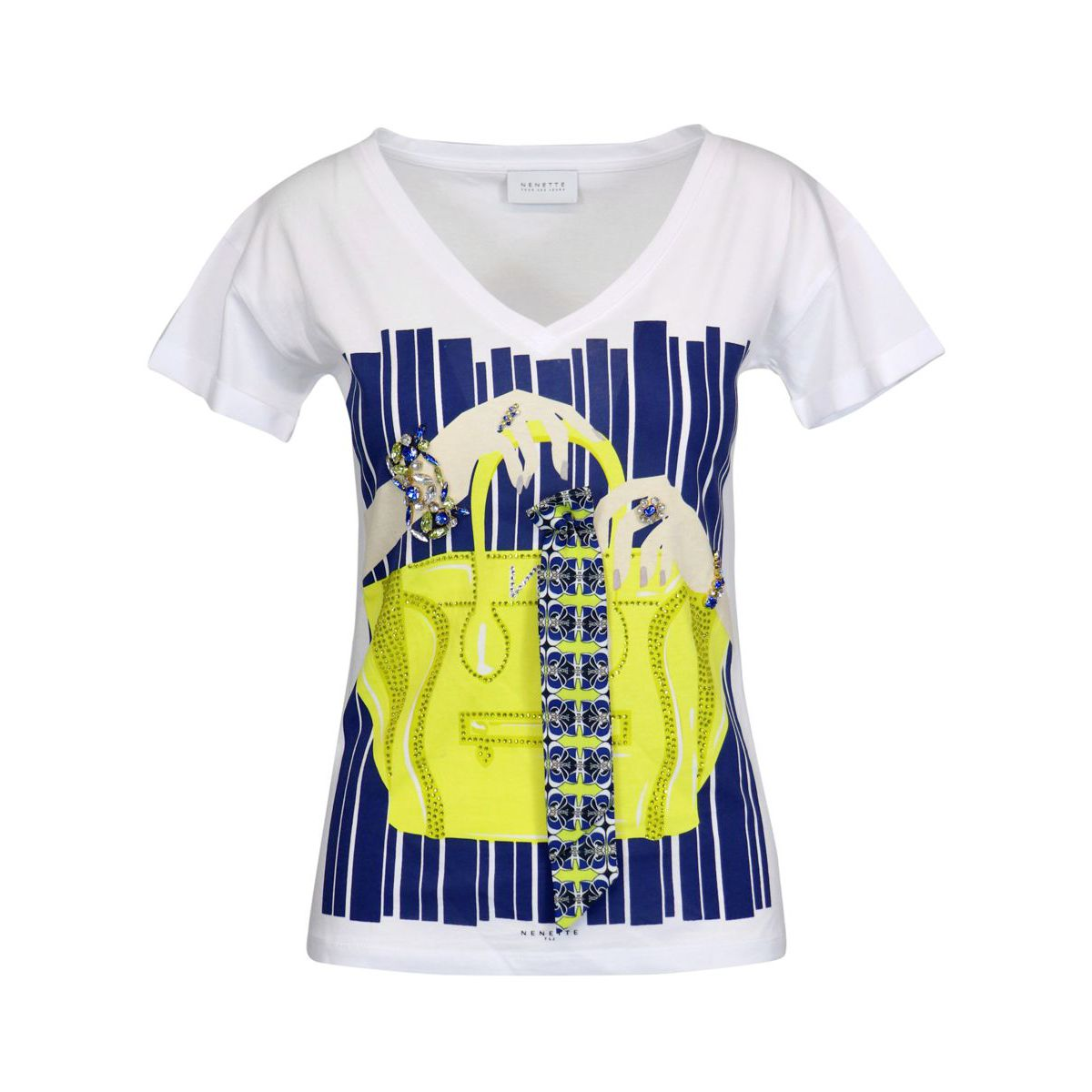 Cotton T-shirt with print and jeweled settings White Nenette