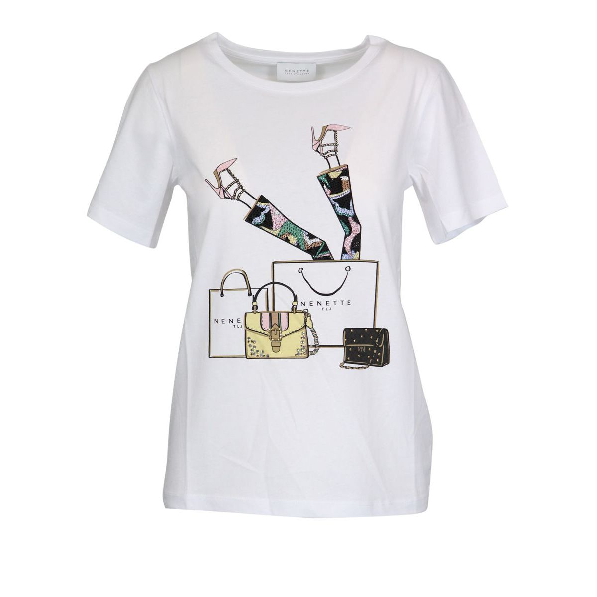 Cotton T-shirt with shopping print White Nenette