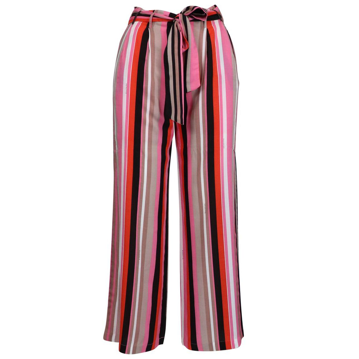 Wide Ercole trousers in striped viscose with belt Pink lines Nenette