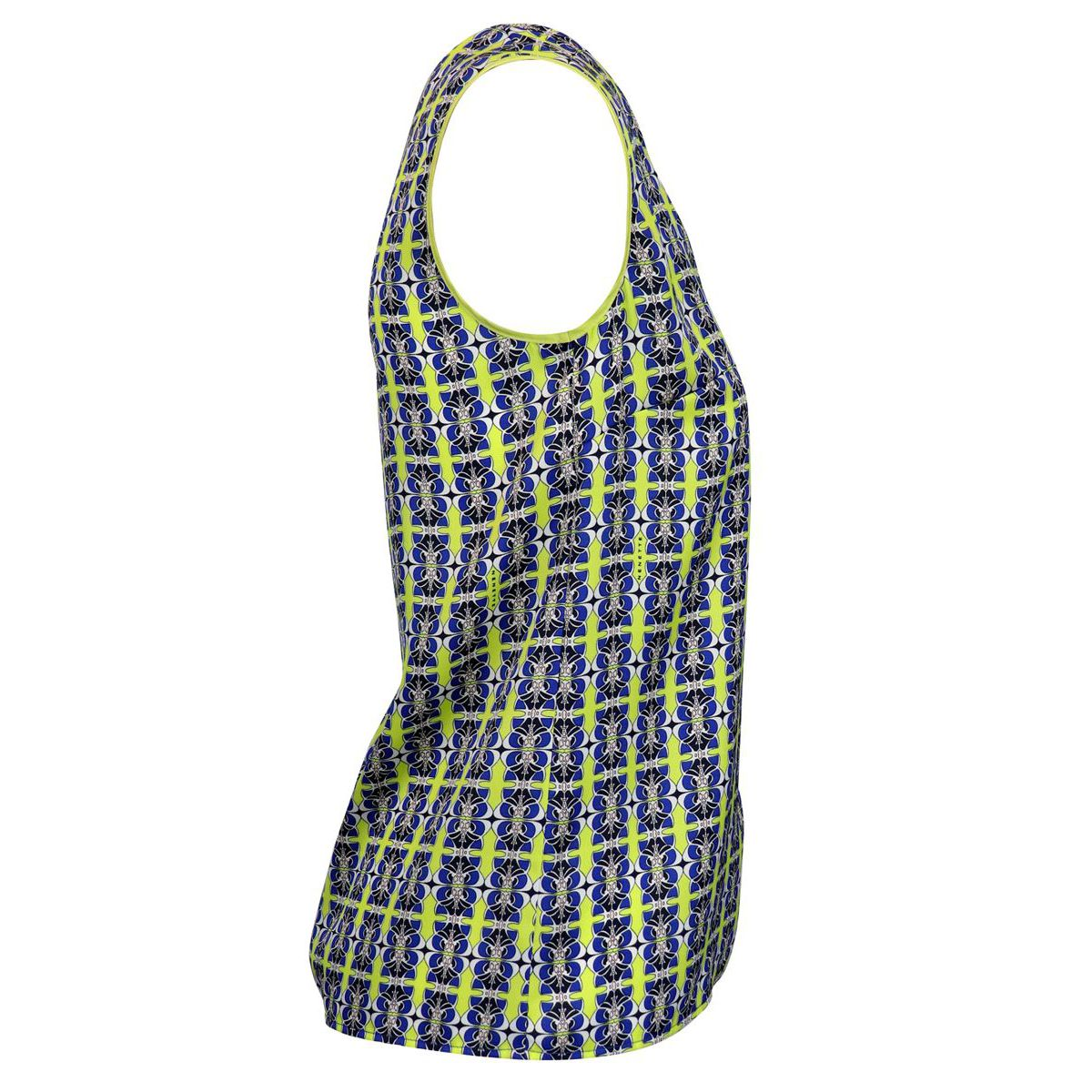 Sleeveless shirt with multicolor print Blue / yellow Nenette