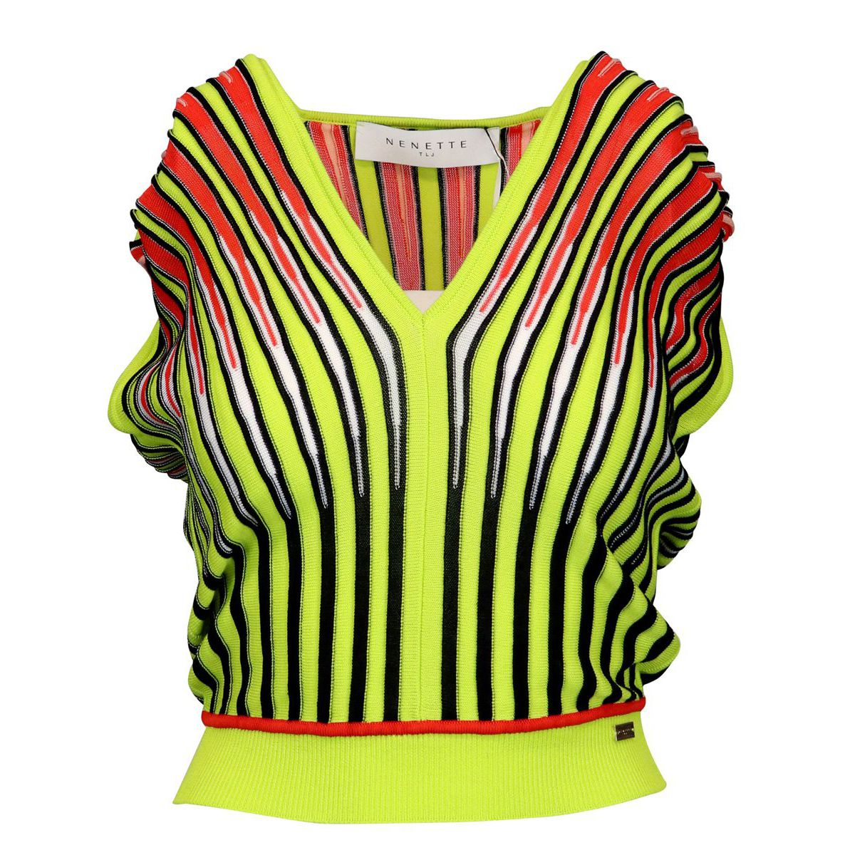 Viscose blend sweater with vertical multicolor striped pattern Black Nenette