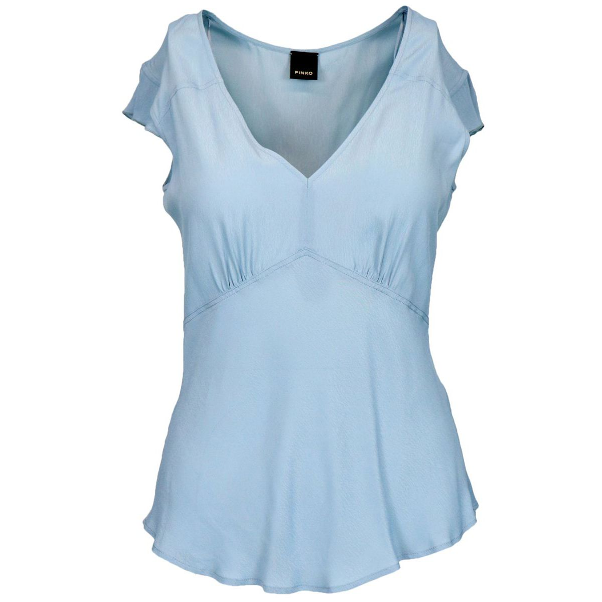 Pop Corn viscose sweater with curled sleeves Light blue Pinko