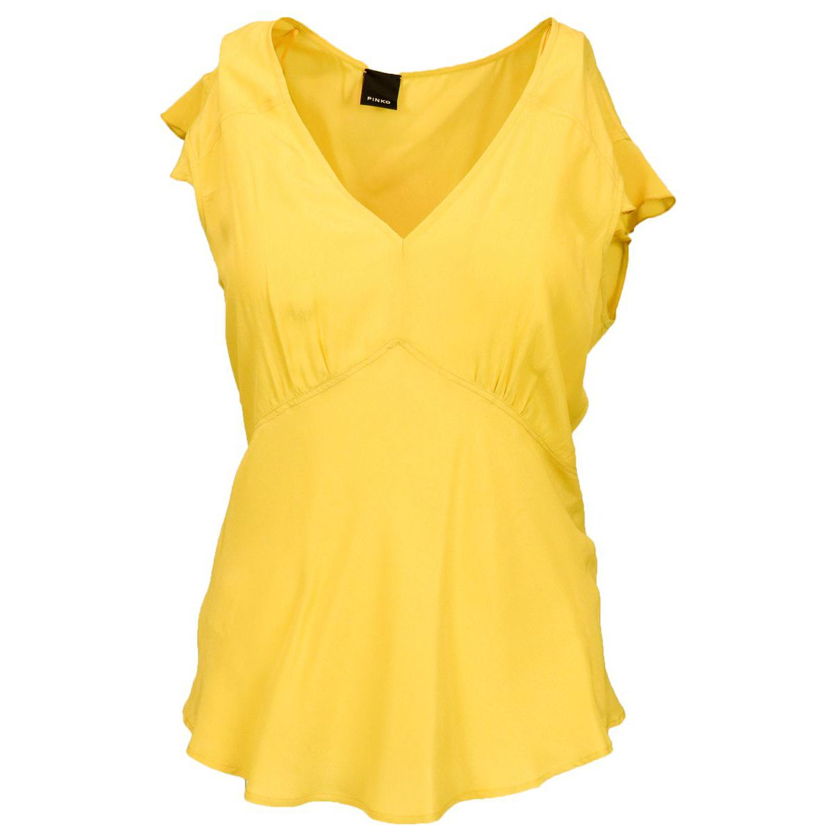 Pop Corn viscose sweater with curled sleeves Yellow Pinko