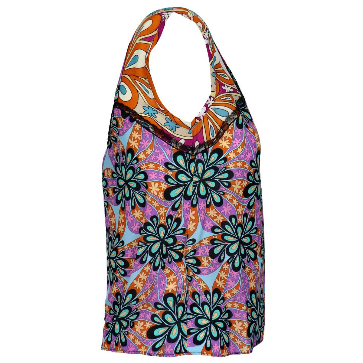 Sleeveless spaghetti top in viscose with floral print Black Pinko