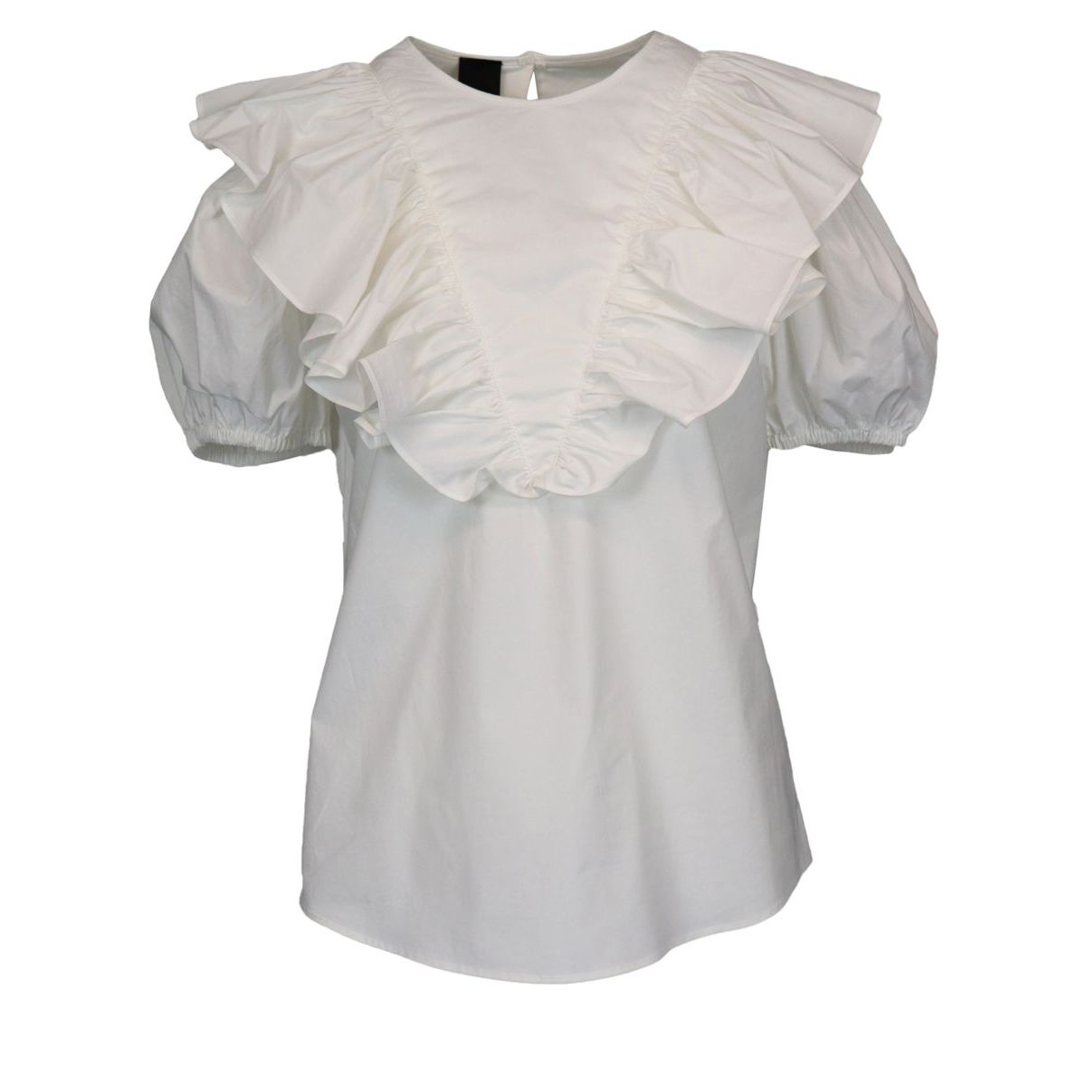 Skewers blouse in poplin with ruffles White Pinko