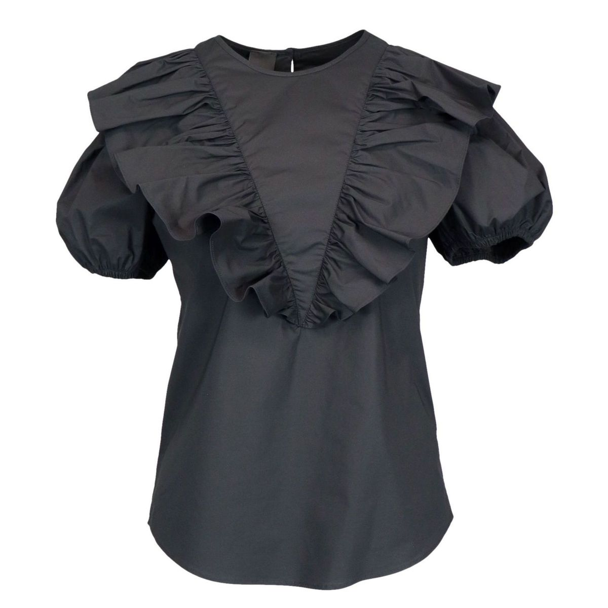 Skewers blouse in poplin with ruffles Black Pinko