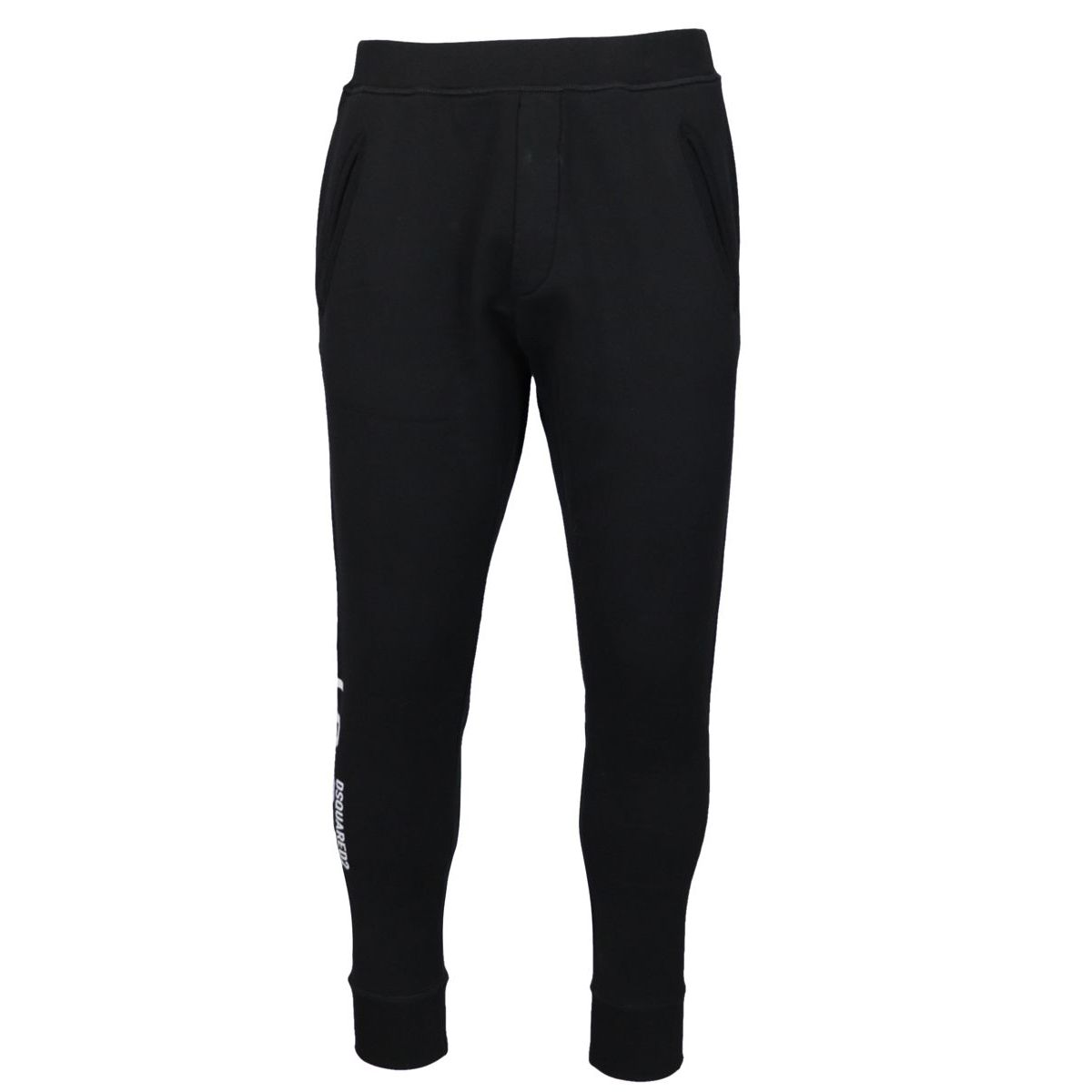 Sporty cotton trousers with printed logo writing Black Dsquared2