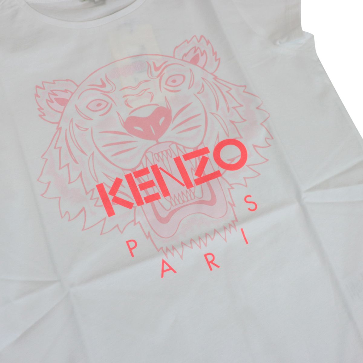 Cotton t-shirt with contrasting Tiger print White Kenzo