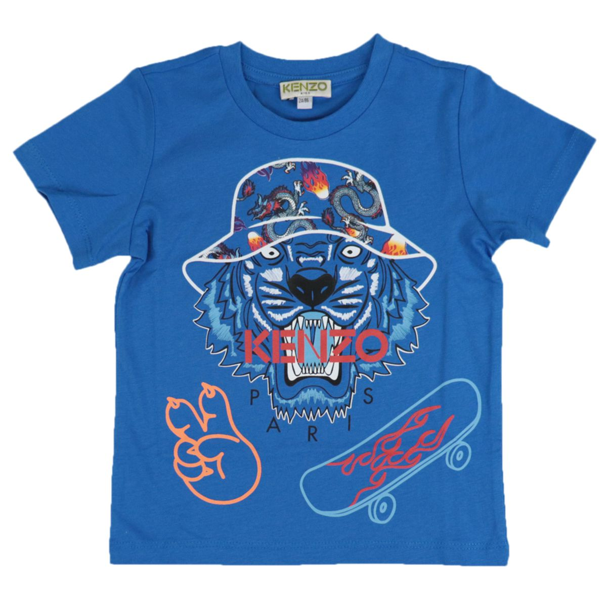 Cotton T-shirt with Tiger prints and logo Blue Kenzo