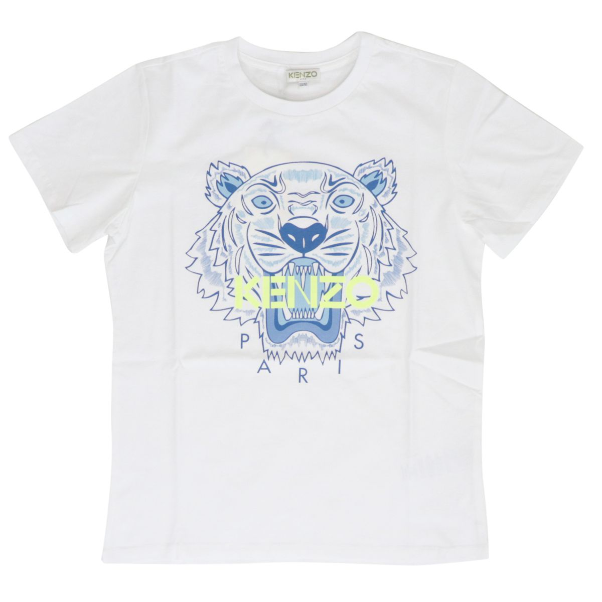 Cotton t-shirt with multicolor Tiger print White Kenzo